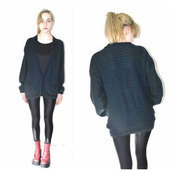 80s knit CARDIGAN vintage 1980s slouchy UNISEX button up CHEVRON grandpa sweater os