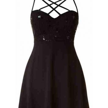 Cut Out Sequin Dress - Kely Clothing