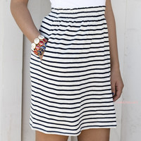 The Night Is Young Navy High Waist Striped Skirt