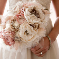 Fabric Flower Custom Wedding Bouquet, with rhinestone and pearl brooches, choose your colors