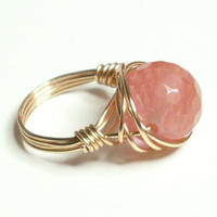 Melon Jade and Gold Wire Wrapped Ring