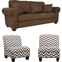 Walmart: Oxford Microfiber Sofa with Set of 2 Gina Zig Zag Armless Accent Chairs