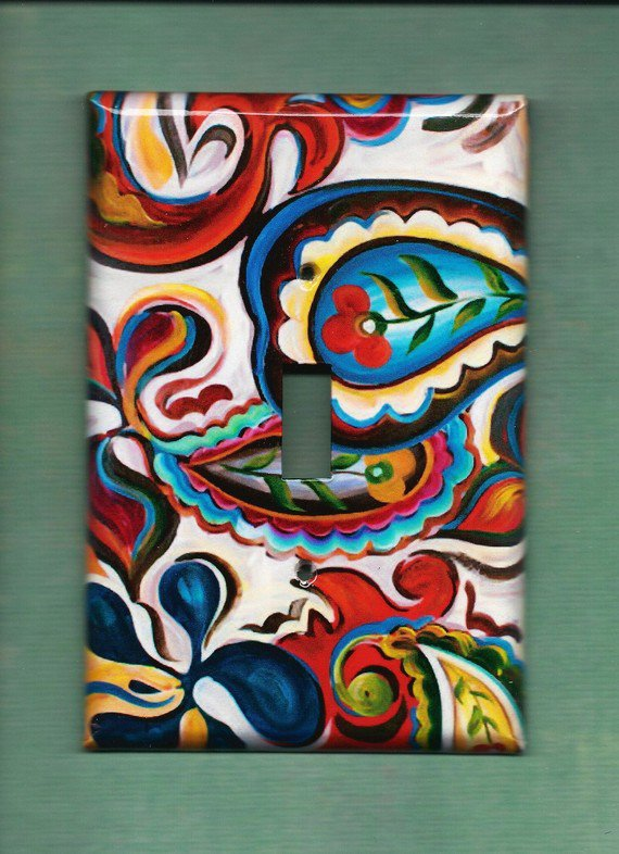 Oversized 35 x 525 Paisley Single Switchplate cover by TurnMeOnArt