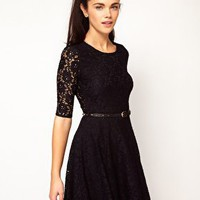 River Island Wrap Back Skater Dress With Belt at asos.com