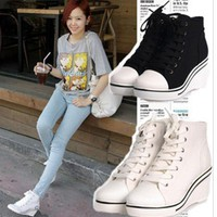 fashion women's sneakers side zip lace-up platform wedge heels ankle boots #132