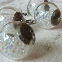 Will o' the Wisp Wonder Globe Necklace with Iridescent Glass Beads. Oxidized Sterling Silver