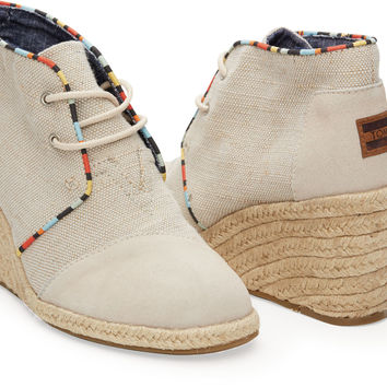 WHISPER BURLAP SUEDE WOMEN'S DESERT WEDGES