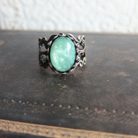 Mint Green Ring Lord of the Rings Inspired Antique Brass Ring Vintage Filigree Ring Cameo Ring Cabochon Ring - Linskevia