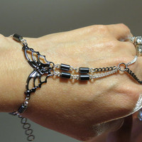"Butterfly ""Slave Bracelet"" Ring. Black and White, Sterling Silver and Gunmetal with Hematite beads. Light Versus Dark. Adjustable. 6 to 8 In"