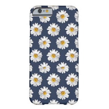 Girly Navy Blue Daisy Flower Pattern iPhone 6 Case