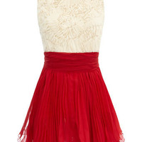 Cream/red frill dress - Going Out Dresses  - Dresses