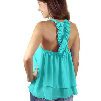 Emerald Green Top With Ruffle Back | Ruffle Back Top