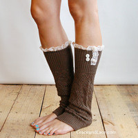 FACEBOOK DEAL The Lacey Lou Coffee Brown Open-work Leg Warmers with knit lace trim and buttons - Legwarmers boot socks (item no. 3-6)