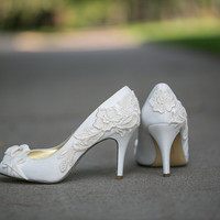 Wedding Shoes - Ivory Wedding Shoes with Ivory Lace. US Size 8.5
