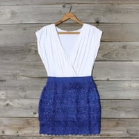 Tucked Lace Dress in Blue, Sweet Women's Country Clothing