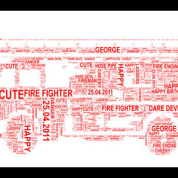 Red Fire Engine Personalised Word Art Print