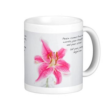 Pink Tiger Lily With Inspirational Words Mug