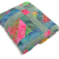 Sage and Pink Throw Sized Quilt,  Hand Dyed Cotton fabric, Dorm Quilt, Child's Quilt, Kid's Blanket,