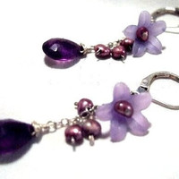 SALE.....One of a Kind Sterling Silver, Amethyst, Vintage Lucite and Pearl Earrings