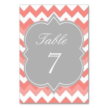 Gray Coral Peach Chevron Table Number Card