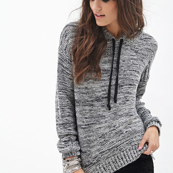 Marled Knit Hooded Sweater