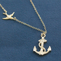 Anchor Necklace with Swallow in Gold - Sailor Necklace - Nautical - Gold Filled Chain