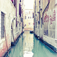 Venice Photograph - Water reflection boat european Travel Photo Italy wall art soft pastel pale mint green jade green decor - 8x8