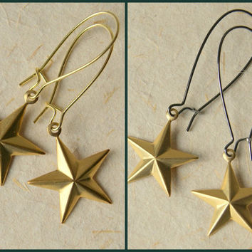 Star Earrings - Brass Star Earrings - Gold Star Earrings - Star Jewelry - nautical stars - Your choice of earwires