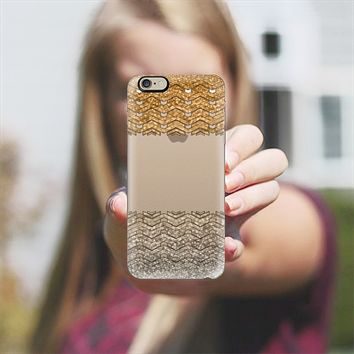 Glitter golden chevron iPhone 6 case by VanessaGF | Casetify