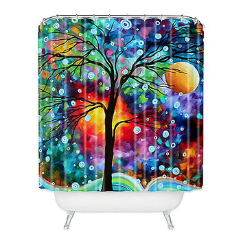 Madart Inc. A Moment in Time Shower Curtain in Blue