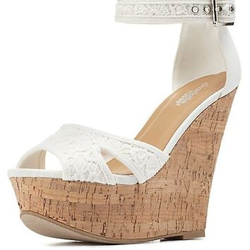Crochet Platform Wedge Sandals by Charlotte Russe - White