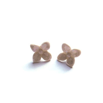 Flower Stud Earrings, Sterling Silver Post Earring, Porcelain Jewellery