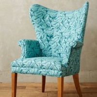 Cartesian Print Wingback Chair by Anthropologie Teal Motif One Size Wall Decor
