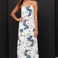 Vintage Collector Navy Blue and Cream Print Maxi Dress