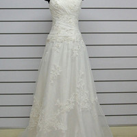 Custom make Vintage A LINE Lace Trim Wedding Dress Bridal Gown White Bridesmaid Evening Prom dress