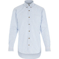 River Island MensNavy stripe Only & Sons shirt