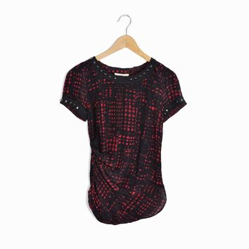 Étoile Isabel Marant Djodie Top Silk Blouse Red Black Studded Top - 1 / Small