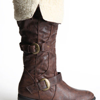 Berlin Fur Lined Buckled Boots - &amp;#36;48.00 : ThreadSence.com, Your Spot For Indie Clothing &amp; Indie Urban Culture