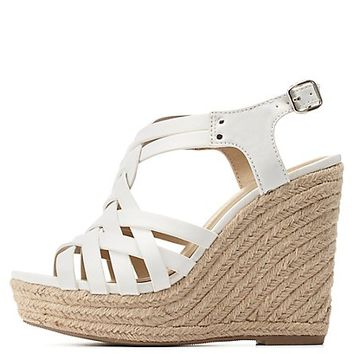 Strappy Slingback Espadrille Wedge Sandals by Charlotte Russe - White