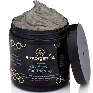Era Organics Dead Sea Mud Mask (11oz) Spa Quality Facial Mask Enriched with Aloe Vera, Shea Butter, Manuka Honey and Hemp Oil for Extra Moisturizing and Healing Power. Sooth, Moisturize, Detoxify and Exfoliate to Leave Healthier, Softer Skin.