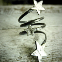 Your Own Shooting Stars - Three Distressed  Stars On Adjustable Coil by Pale Fish Ny
