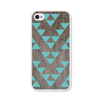 Geometric iPhone 4 Case - Plastic iPhone 4s Case - Triangle Wood Tribal Southwest iPhone Case Skin - Turquoise Brown Cell Phone For Him
