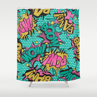 Pink Comic Book Shower Curtain by Season Of Victory