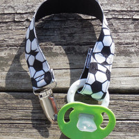 Soccer Ribbon Pacifier Clip, Black Pacifier Holder, Soccer Binky Clip, Sports Pacifier Clip or Sports Toy Clip