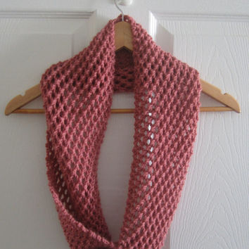 Knit Scarf - Spring Scarf - Pink Scarf - Hand Knit Scarf - Infinity Scarf - Circle Scarf - Made in Canada - Eternity Scarf - Spring Knit
