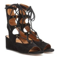 Suede gladiator wedge sandals