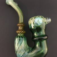 Sale Large Green Glass Silver and Gold Fumed Honeycomb Pattern and 3 Blingin' Dichro Marbles Tobacco Sherlock Pipe