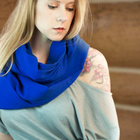 Royal Blue Infinity Scarf, Lightweight Cotton Gazue Scarf, Soft Circle Scarf, Ladies Scarves, Women's Spring Accessory, Tardis Blue Scarves