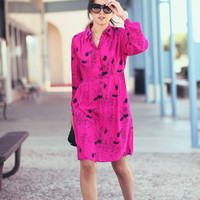 Hot Pink Fuscia Classy Mod Floral Long Sleeve Mini Dress - Tiffany in the Tropics