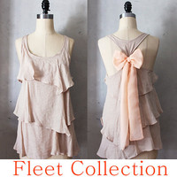 DESERT AURA - Light Taupe Sleeveless Blouse with Peach Contrast Chiffon Bow Accent & Tiered Flounce Detail